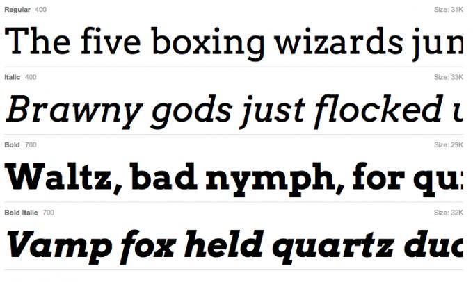 Arvo font sample